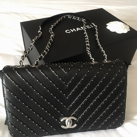 CHANEL Calfskin Studded Quilted Flap Black. 5f27c33d72d23